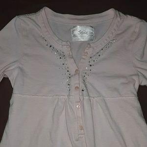 Justice pink longsleeve top, tie back w sequins